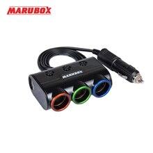 Marubox M11 Разветвитель пригуривателя в автомобиль 3 гнезда с 2USB 3.1A пригуривателя мощность 120 Ватт Длина кабеля 1 метр