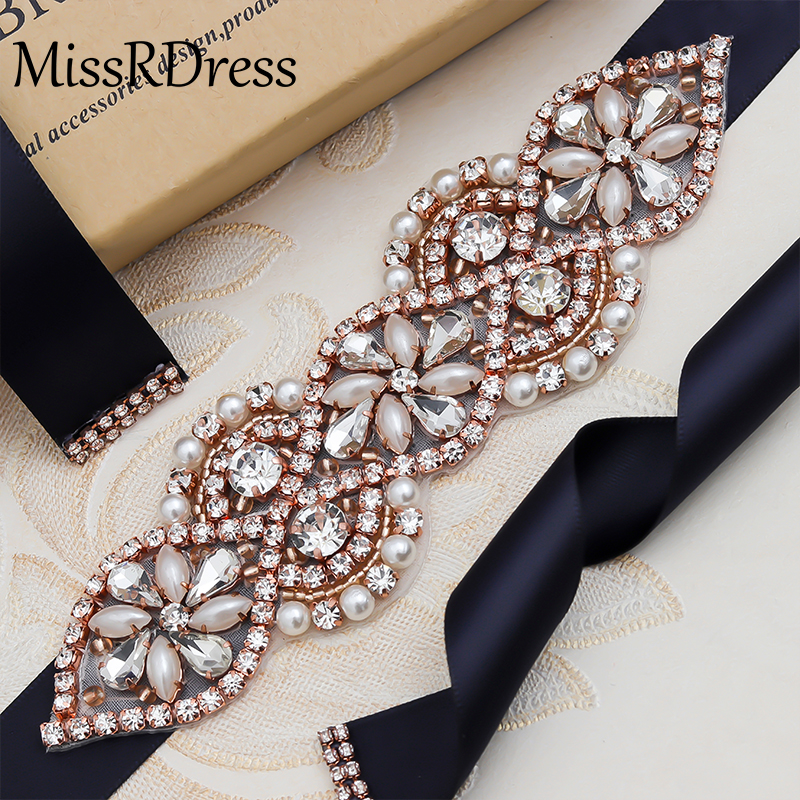 MissRDress Wedding Belt Crystal Rhinestones Bridal Sash Elegant Pearls Bridal Dress Belt For Wedding Dress Bridal Belt JK874