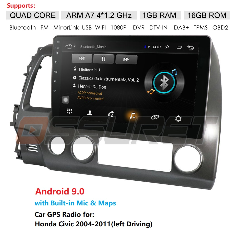 Quad Core Android 9.0 Fit HONDA <font><b>CIVIC</b></font> 2004 2005 2006 2007 - 2009 2010 2011 Multimedia Stereo Car DVD Player Navigation GPS Radio image