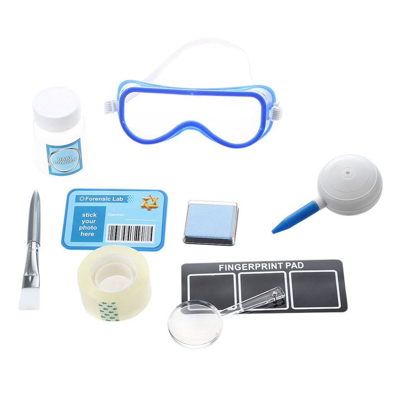 Fingerprint Set Detective experiments toy with stamp pads Magnifier Brush