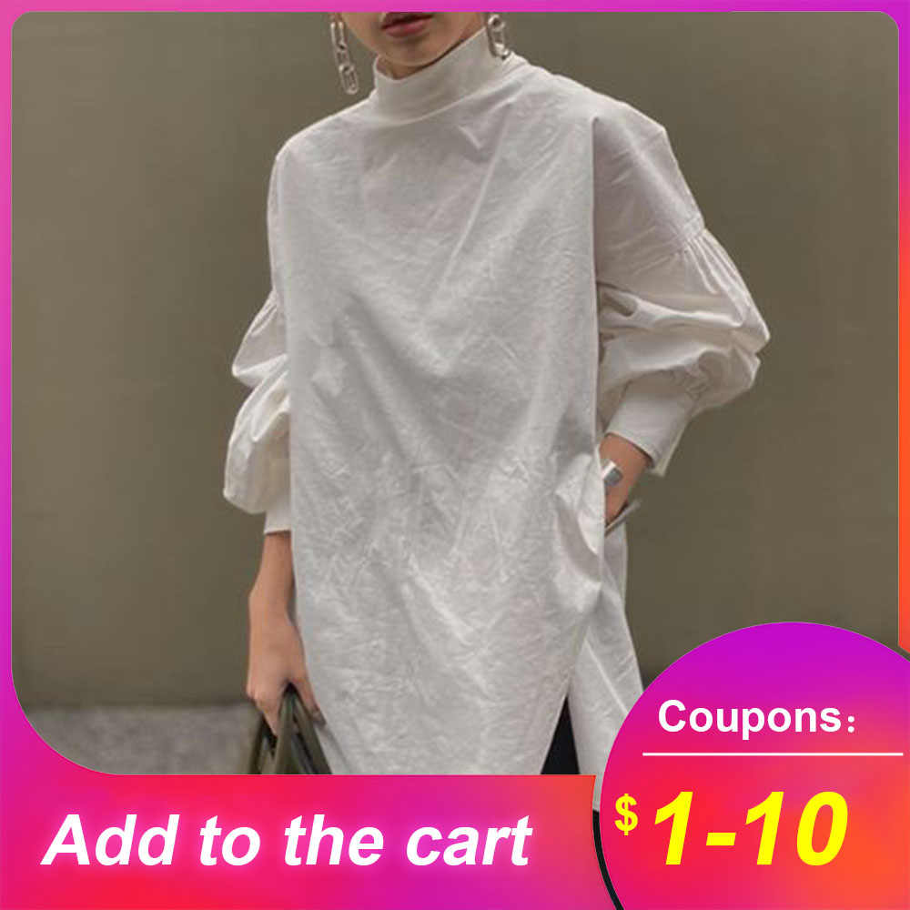 Losse Witte Vrouwen Blouse Shirts 2020 Lente Lantaarn Mouw Stand Kraag Tops Shirts Koreaanse Janpanese Casual Femme Blouse Shirts