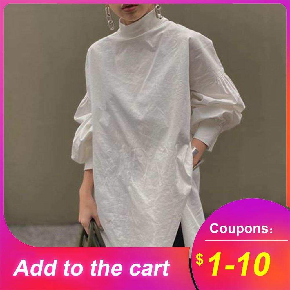 Loose White Women Blouse Shirts 2020 Spring Lantern Sleeve Stand Collar Tops Shirts Korean Janpanese Casual Femme Blouse Shirts