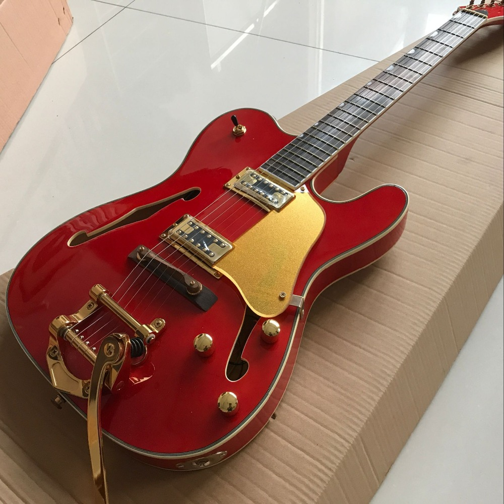 high quality . F hollow body jazz electric Guitar.red color guitarra with Gold hardware gitaar.vibrato system