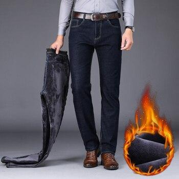 2020 Winter New Men's Warm Slim Fit Jeans Business Fashion Thicken Denim Trousers Fleece Stretch Brand Pants Black Blue 3