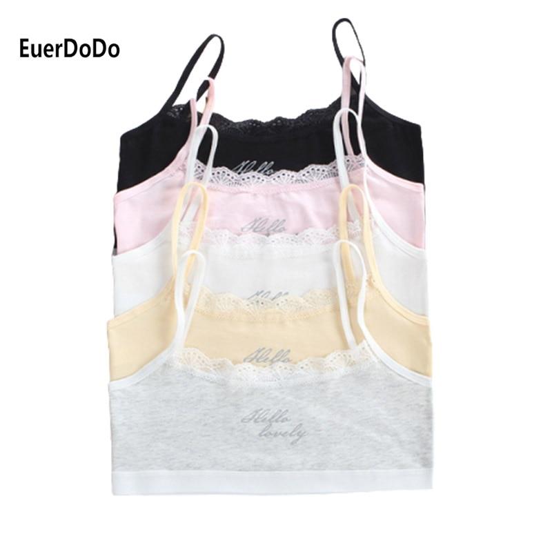 2020 Brand Girls Lace Underwear Puberty Teenage Sport Training Bra Young Children Vest Crop Top 8-18Years Cotton Camisole