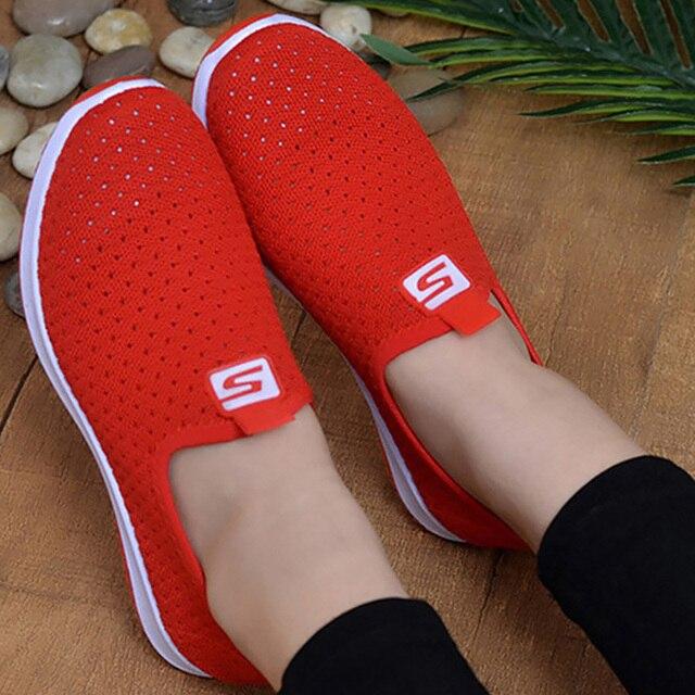 Zapatillas de deporte vulcanizadas 2020 para mujer, zapatos de malla para mujer, calzado informal antideslizante sólido y poco profundo, transpirables para mujer 2