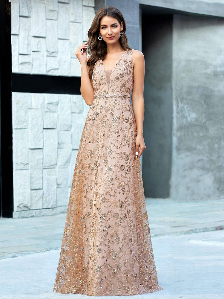 Party-Gowns Evening-Dresses Sequined Ever Pretty Deep-V-Neck Vestidos Rose-Gold Sexy