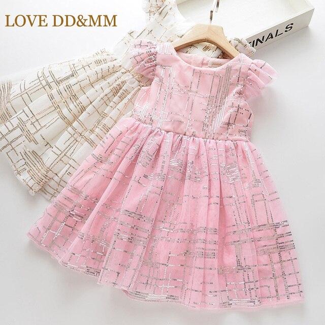 LOVE MM DD & vestidos para niñas, novedad de verano, ropa para niños, vestido de princesa sencillo con degradado de malla de lentejuelas sin mangas, 2020