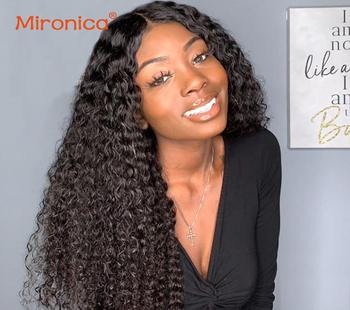 Perwersyjne kręcone peruki typu Lace front perwersyjne kręcone z pałąkiem na głowę peruki 4 #215 4 zamknięcie koronki peruki 13 #215 4 peruki typu Lace front perwersyjne kręcone ludzkie włosy peruki tanie i dobre opinie MIRONICA long Koronki przodu peruk CN (pochodzenie) Remy włosy Ludzki włos 1 sztuka tylko Peruka