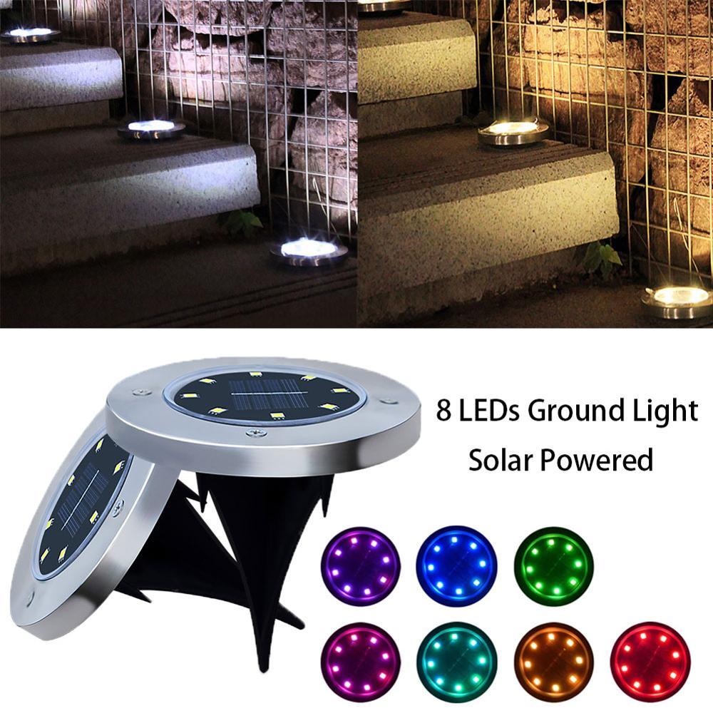 Многоцелевой наземный светильник на солнечных батареях 4/8 светодиодный светильник для улицы Точечный светильник садовый ландшафт водонеп...