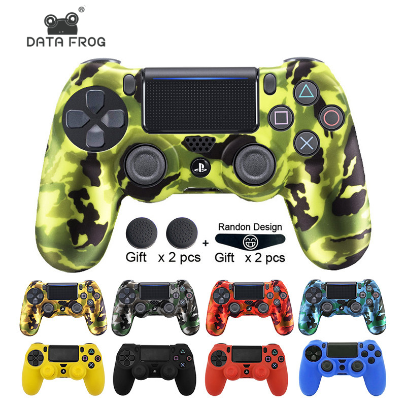DATA FROG  Soft Flexible Cover Silicone Case Protection Skin For Playstation 4 PS4 Pro Slim Gamepad LED Light Bar Sticker 2 Grip