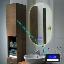 Espejo de luz táctil K3015CA con Bluetooth, Radio Fm, fecha de temperatura, calendario, pantalla para baño o armario