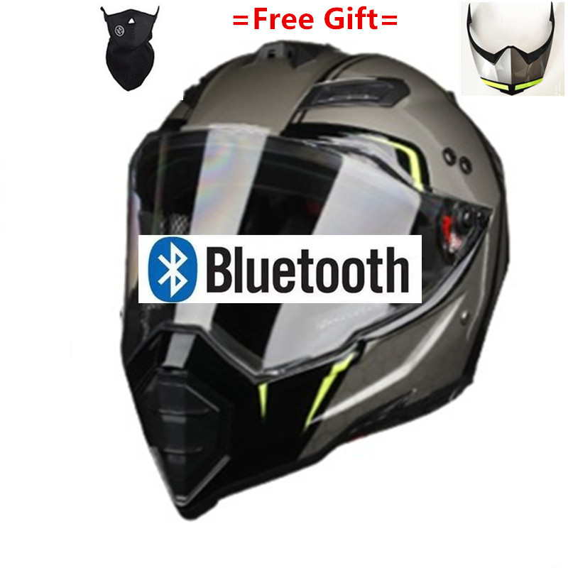 Motorcycle Bluetooth Helmets Full Face Helmet,Built-in Integrated Intercom Communication System FM Radio,L Size,Matte Black