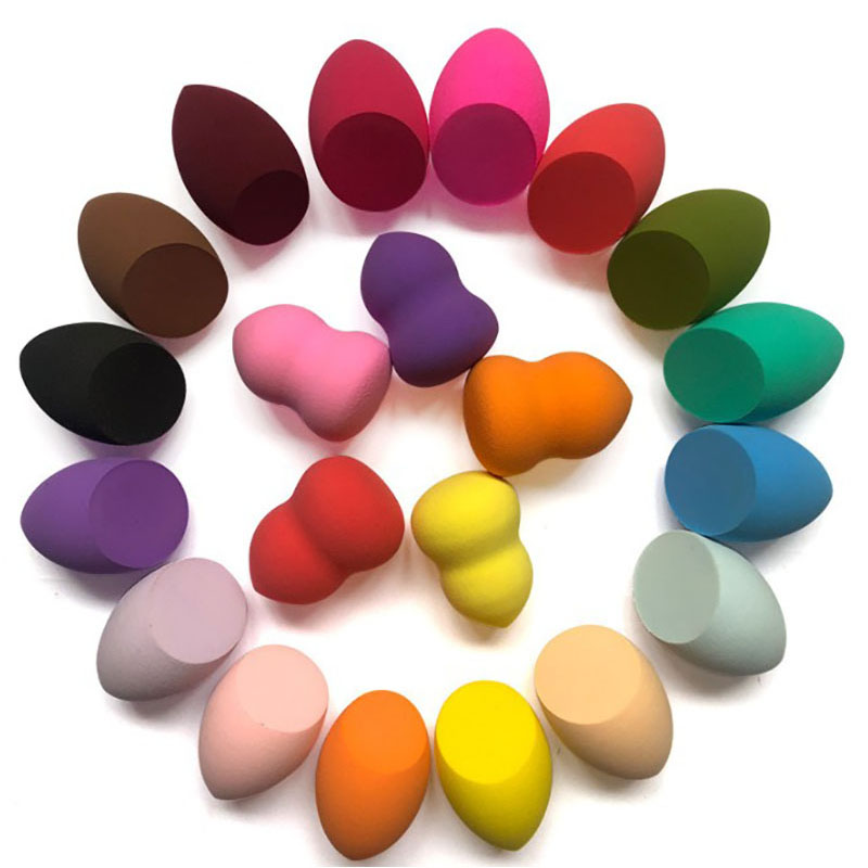 1pcs New Beauty Egg Set Gourd Water Drop Shape Puff Makeup Puff Set Colorful Sponge Egg Wet and Dry Use Make Up Tools With Base