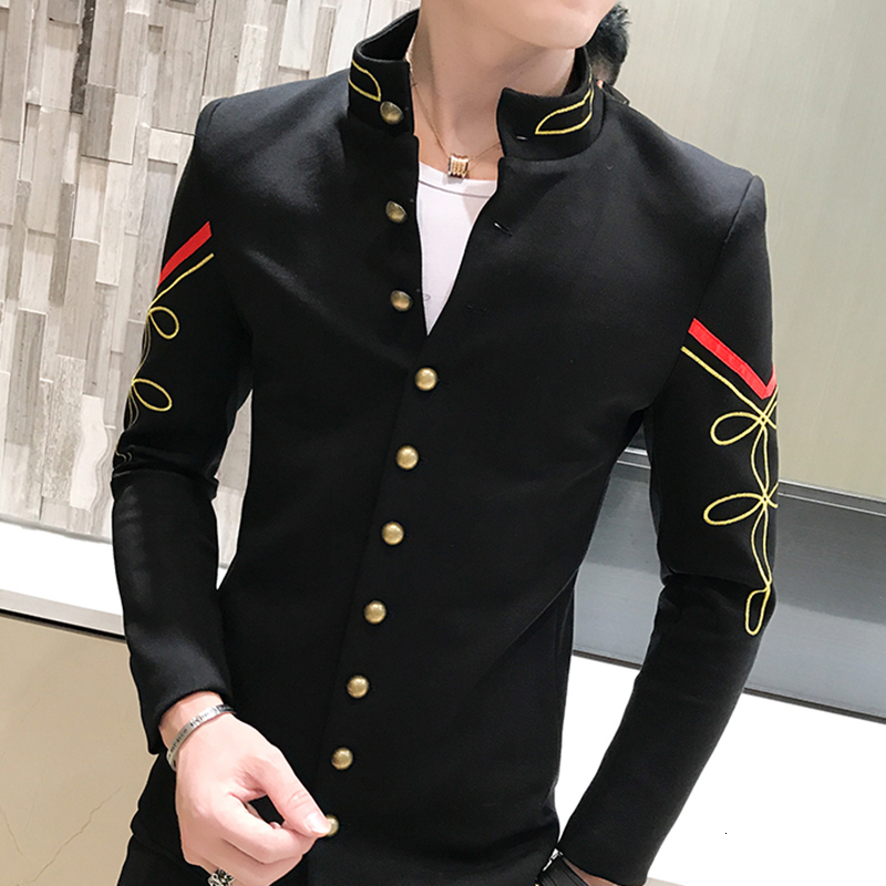 4 Color Gold Button Chinese Collar Blazers Jacket Slim Fit Mens Blazer Pattern Army Pilot Jacket Men Black Blue Red White Blazer