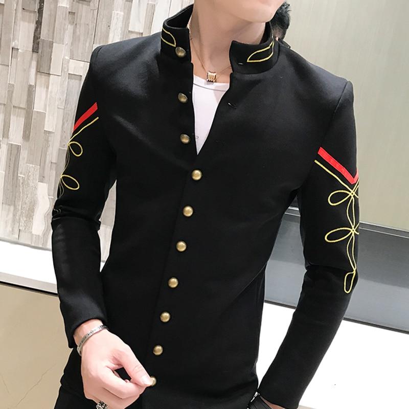 4 Color Gold Button Chinese Collar Blazers Jacket Slim Fit Mens Blazer Pattern Army Pilot Jacket Men Black Blue Red White Blazer