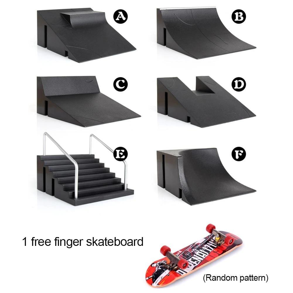 Mini Finger Toy Skateboard Skate Park Ramp Kit Primitive Pro Model Finger Board with 1 Finger Skateboard Ramp Parts for Finger Skateboard Parks Training Props