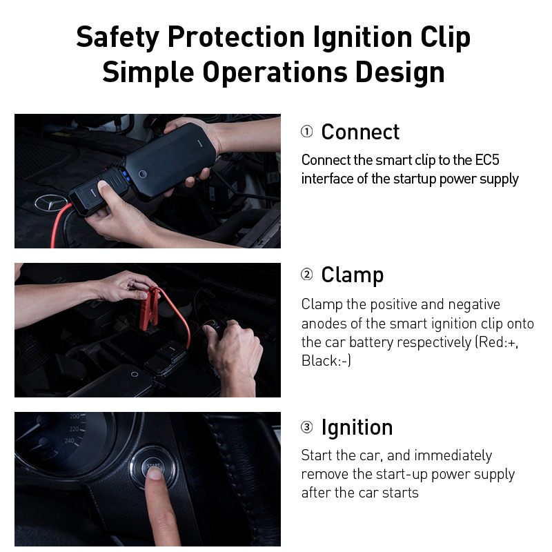 Image 3 - Baseus 8000mAh Car Jump Starter Power Bank for Car Battery Booster 12V Starting Device Power Bank with SOS Light Jump Starter-in Jump Starter from Automobiles & Motorcycles