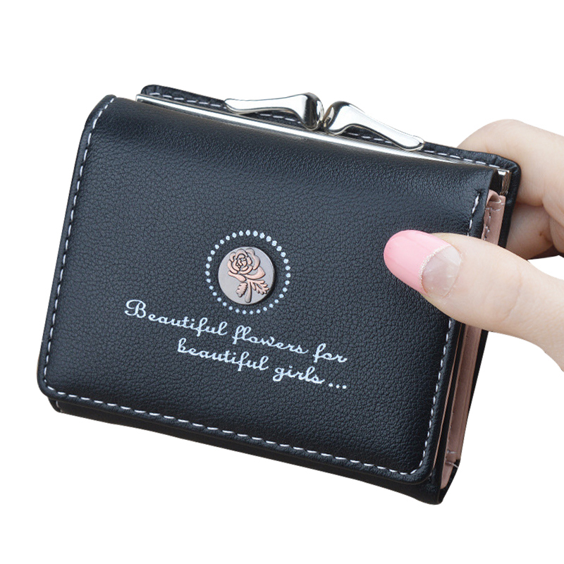 Letters Print Trifold Leather Clutch Wallets Women Short Kiss Lock Coin Purse Retro Floral Card Holder Female Mini Small Wallet