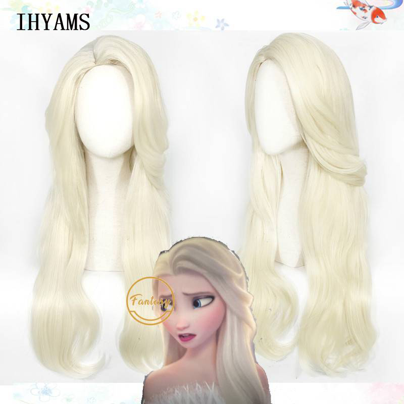 Princess Elsa Cosplay Wigs Snow Ice Queen Long Wavy Party Gift Halloween+ Free Wig Cap