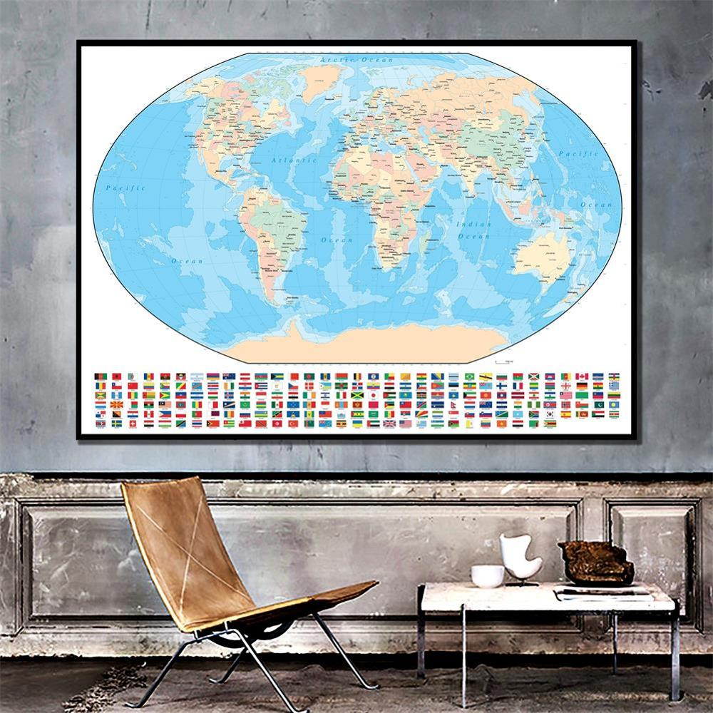 150x100cm Spray World Map Mercator Projection With National Flag For Travel And Education