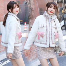 Mingle stitching Hong Kong flavor small fragrance wind jacket 2019 winter new loose wild lamb plush women(China)