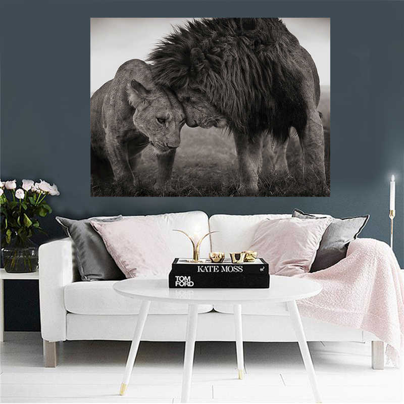 Black and White Lions Head to Head Canvas Art Painting Posters and Prints Scandinavian Cuadros Wall Art Picture for Living Room