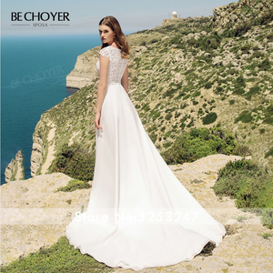 Image 2 - Женское свадебное платье трапеция BECHOYER, элегантное кружевное платье трапеция с круглым вырезом и рукавами крылышками, с прозрачным поясом, модель 2020, AB41