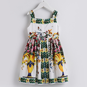 Image 2 - Beenira Girls Summer Dress 2020 European And American Style Children Sleeveless Floral Pattern Causal Dress 4 14y Clothes Dress
