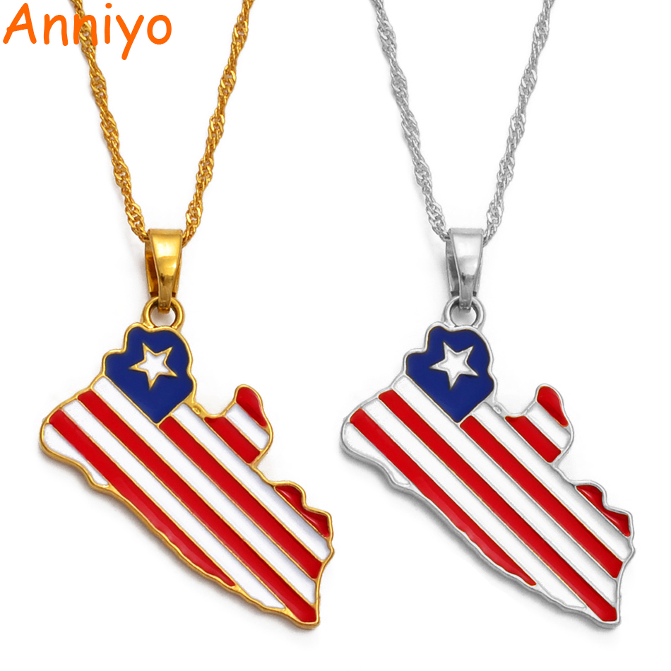 Anniyo (Product Back With Brand Logo) Liberia Country Map & Flag Pendant Necklaces Gold/Silver Color Charm Maps Jewelry #076506