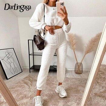 Darlingaga moda zima Shaggy dres kobiety Teddy dwuczęściowy zestaw dorywczo krótka bluza i spodnie dresowe stroje garnitur 2020