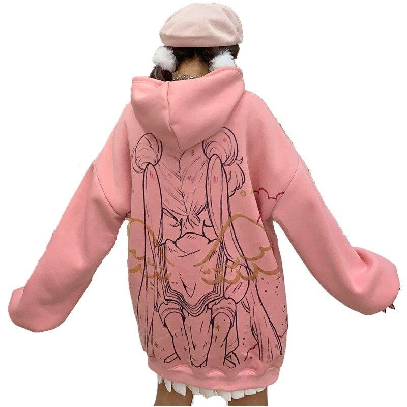 Angle Sailor Moon Kawaii Anime Harajuku Hoodie Women Cute Cartoon Korean Style Sweatshirt Street Fashion Graphic Pullover Top