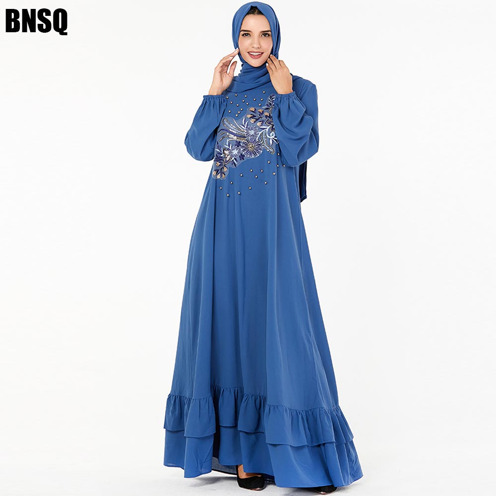 BNSQ Plus Size Muslim Long Dress Blue Beads Embroidery Large Swing Lotus Leaf Dubai Abaya Turkish Kaftan Islamic Hijab Clothing