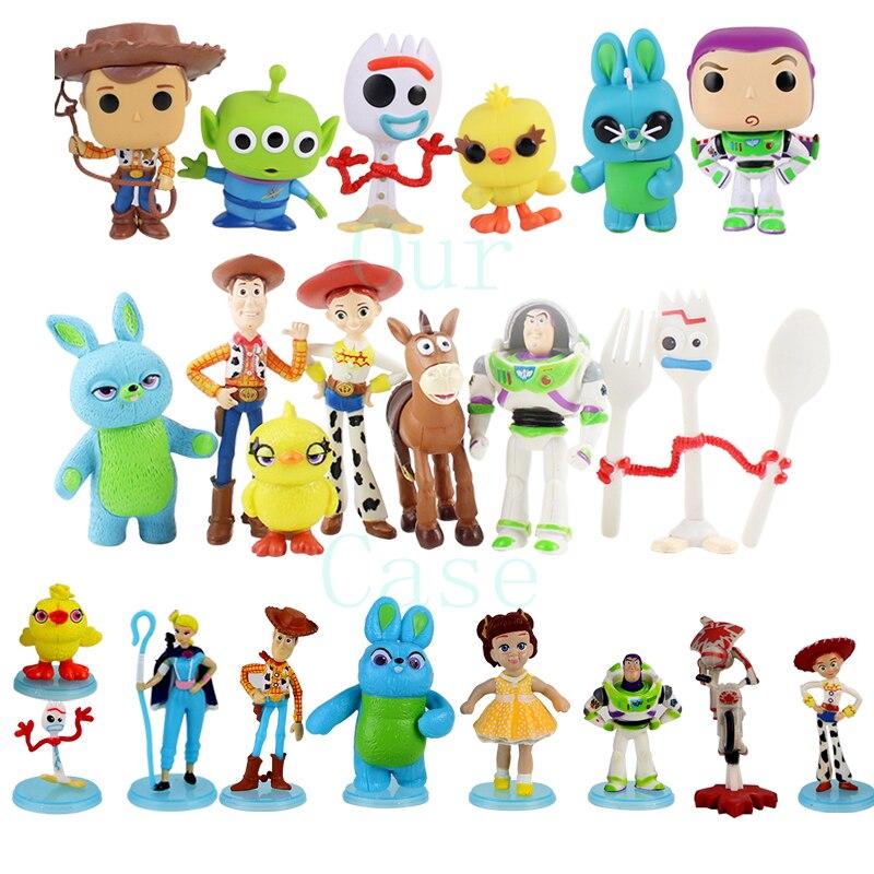 6 uds 7 Uds 9 Uds Forky cifras Woody Buzz Lightyear Jessie Bo Peep Gabby Bunny Ducky blanco caballo apretar los extranjeros cara de bebé juguetes