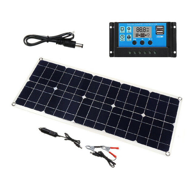 100W 18V Dual USB Solar Panel Battery Charger Solar Controller for Boat Car Home Camping Hiking