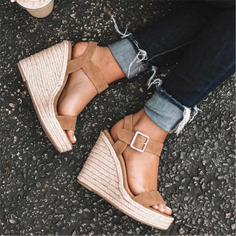 2019 ขนาดใหญ่หัวเข็มขัดฟางรองเท้าแตะรองเท้าแตะหญิงรองเท้าส้นสูงเชือกเสือดาวรองเท้าแตะผู้หญิง