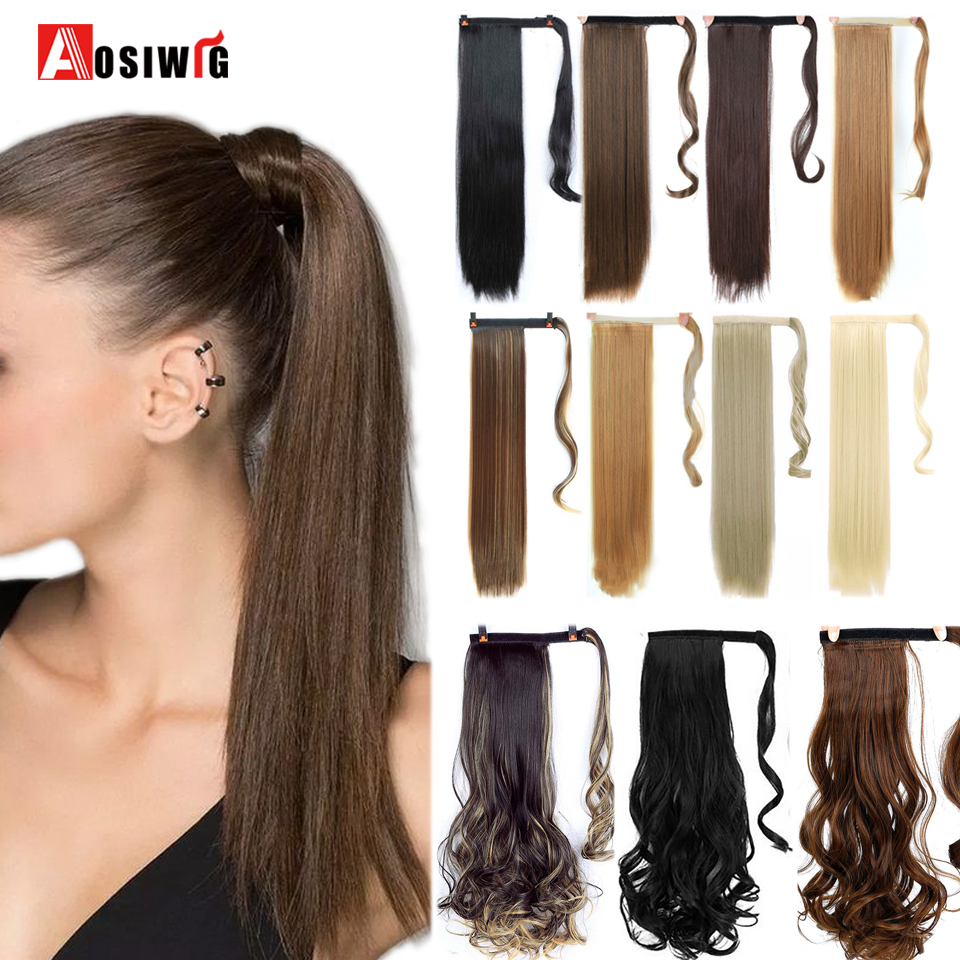 AOSIWIG Long Straight Velcro Wrap Hair Tail Ponytail For Women Clip On Pony Tail  Extension Synthetic Natural Fake Hair Pieces