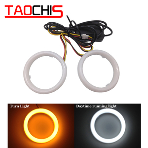 Image 1 - DIY Car styling LED COB Angel Eyes with Turn Light Signal Yellow White Cotton Waterproof Day time running dual colors Halo Rings