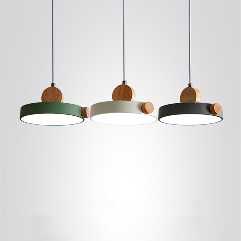 Nordic Led Indoor Wood Pendant Light Fixture Luminaire Modern Metal Kitchen Dining Room Hanging Lamp Luminaire Home Decor Wooden