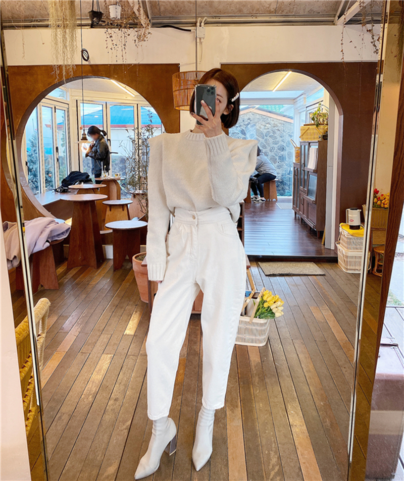 Women Harem Jeans Pants Fashion High Waist White Denim Jeans Female Trousers Spring Summer 2020 Streetwear