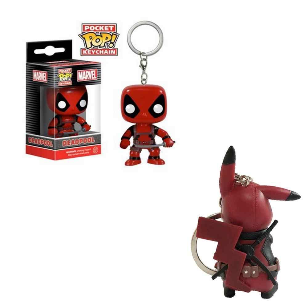 Funko pop engraçado bonito pikachu cosplay deadpool figura de ação coleção modelo chaveiro brinquedos para crianças presente com varejo bo