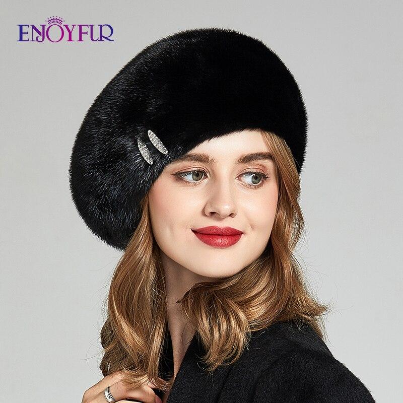 ENJOYFUR Natural Mink Fur Women Hats For Winter Fashion Real Fur Berets With Rhinestone Decoration Warm