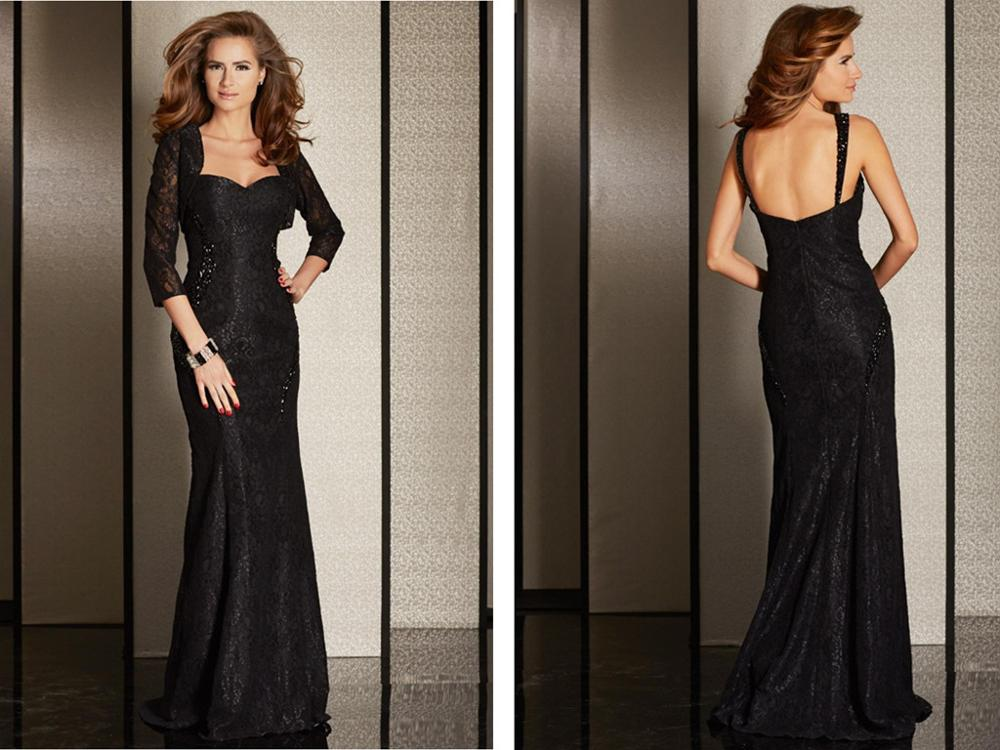 Lace Black Mother Of Bride Dress With Jacket 2015 Square Three Quarter Sleeve Sheath With Sequin Floor Length Mother's Dress