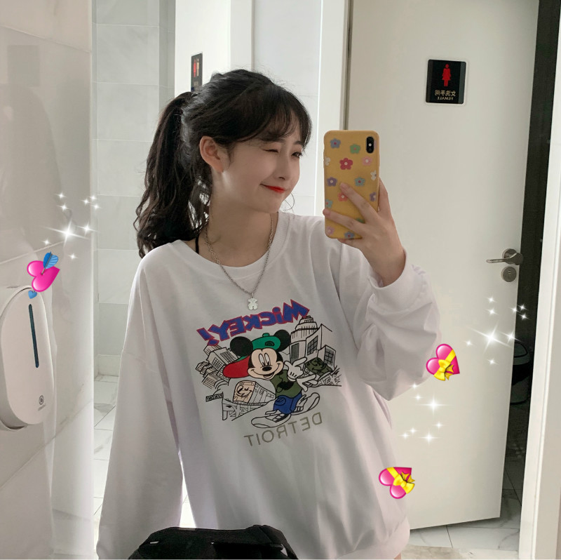 Autumn New Womens Thin Sweatshirts Korean Casual Fashion O Neck Loose Mickey Mouse Printing Female Sweatshirt in T Shirts from Women 39 s Clothing