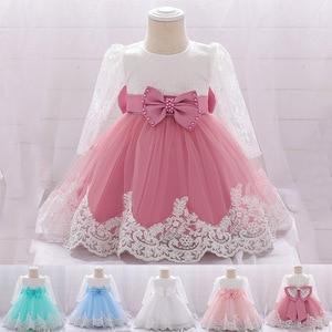 2020 biały z długim rękawem Bowknot sukienka noworodka 1 roku życia sukienka urodzinowa Baby Girl Dress Party i panna młoda sukienka chrzest