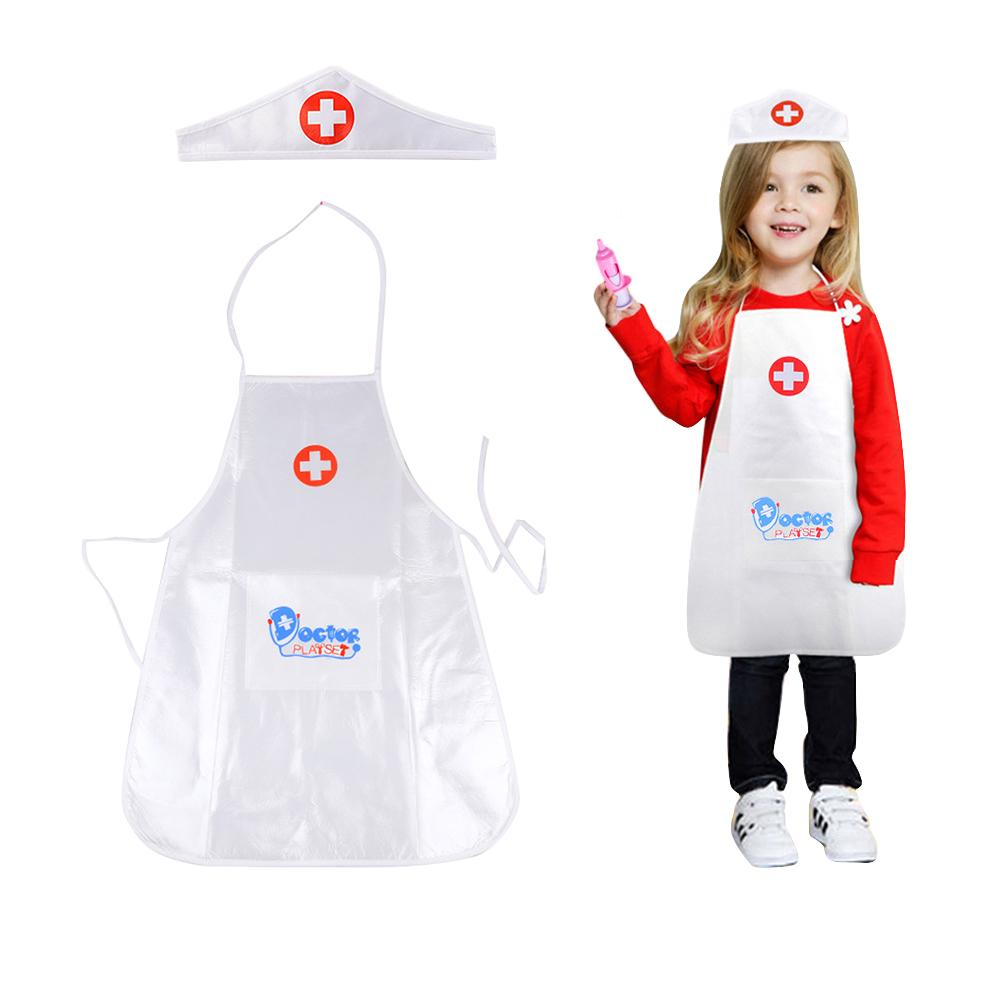 Children's Role Play Costume Doctor's Overall White Gown Nurse Uniform Hook&loop Nurse Cap Costume For Halloween In Stock