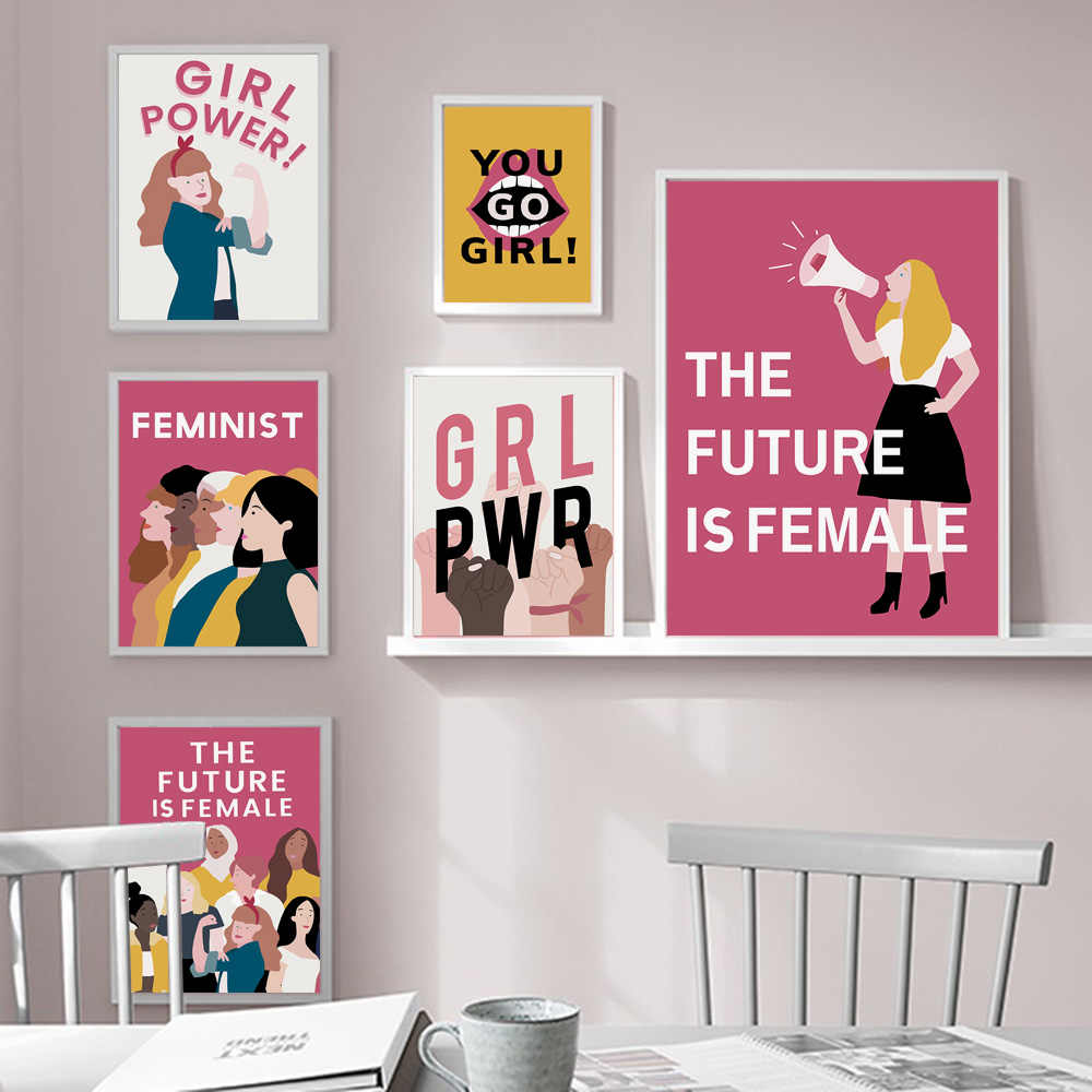 Nordic Feminist Style Poster Wall Art Canvas Painting Girl Power Posters And Prints Wall Pictures For Bedroom Girls Room Decor Painting Calligraphy Aliexpress