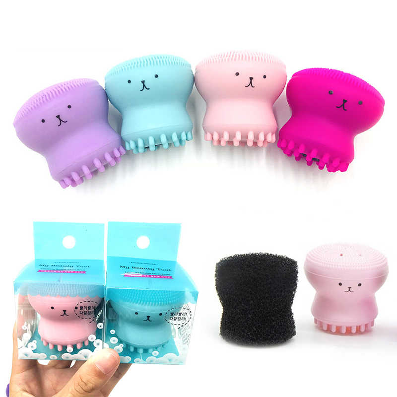 7 Colors Cute Animal Octopus Silicone Facial Wash Brush Pore