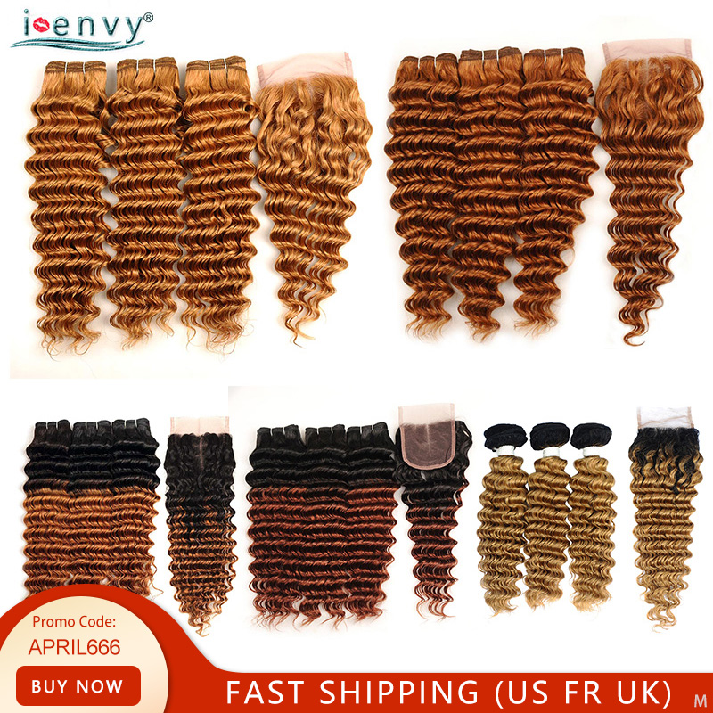 Blonde Deep Wave Bundles With Closure Brazilian Human Hair Weave Ombre Brown Blonde Bundles With Closure Colored Hair Non-remy