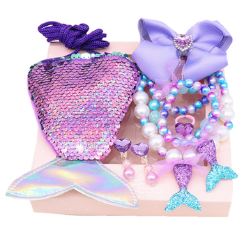 Mermaid Accessories Jewelry Set Sequins Purse Necklace Bracelet Bow Hair Clip Shell Earring Gift For Elsa Ariel Princess Girls